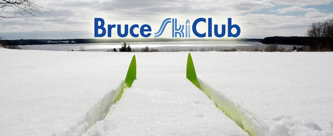 Bruce Ski Club Logo & Header - Cross-Country Skiing Overlooking Colpoy's Bay, Ontario