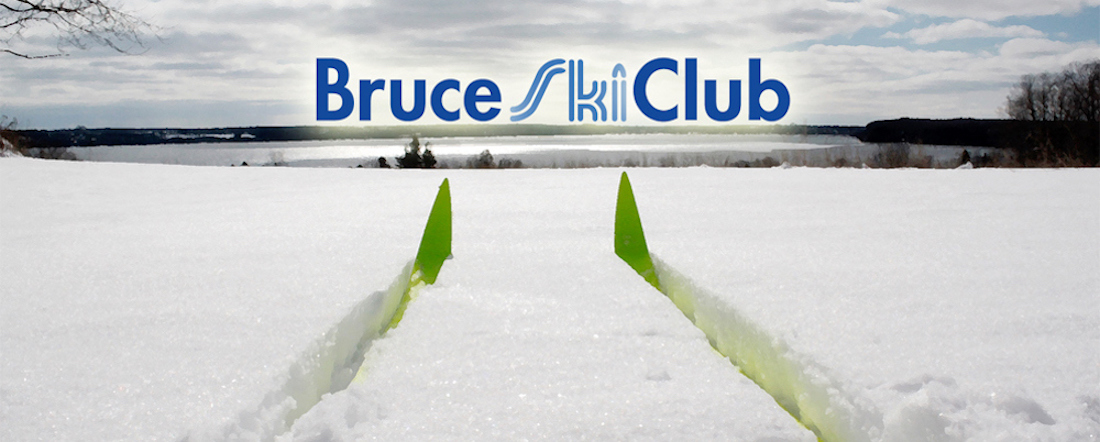 Bruce Ski Club Logo and Header - Cross-Country Skis Overlooking Colpoy's Bay, Ontario