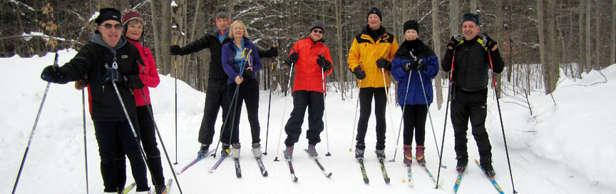 Cross-country skiers standing in a line - Bruce Ski Club, Sawmill Nordic Centre