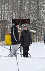 Bruce Ski Club, Bruce County, Ontario, cross-country ski race finish line - Sawmill Nordic Centre