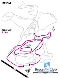 CWOSSA Cross-Country Ski Race Map - Junior Girls