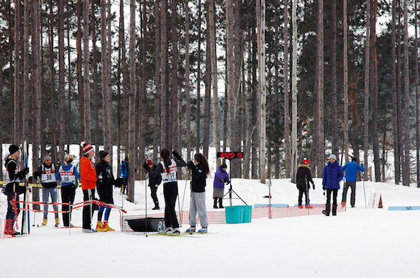 Great Wolf Invitational Cross-Country Ski Race 2017 - finish line