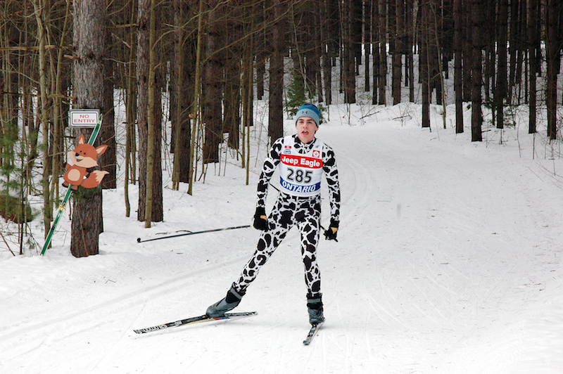 Great Wolf Invitational Cross-Country Ski Race 2017 - skier in leopard print