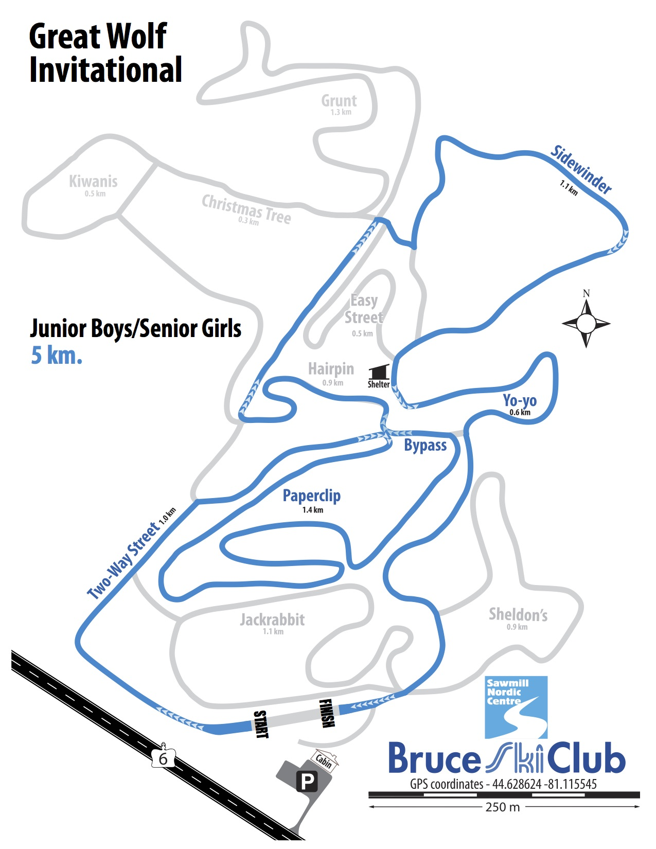Great Wolf Invitational Cross-Country Ski Race, Hepworth, Ontario - Map: Junior Boys, Senior Girls