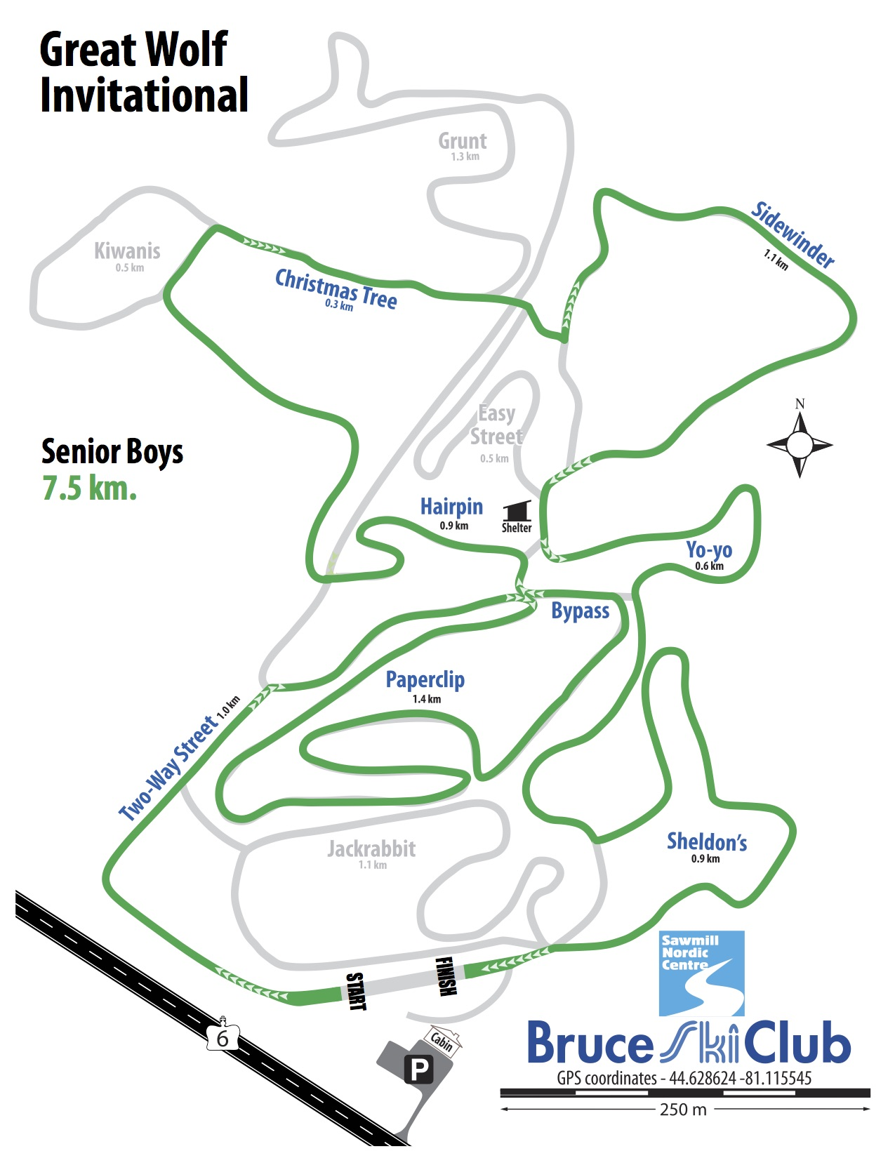 Great Wolf Invitational Cross-Country Ski Race, Hepworth, Ontario - Map: Senior Boys