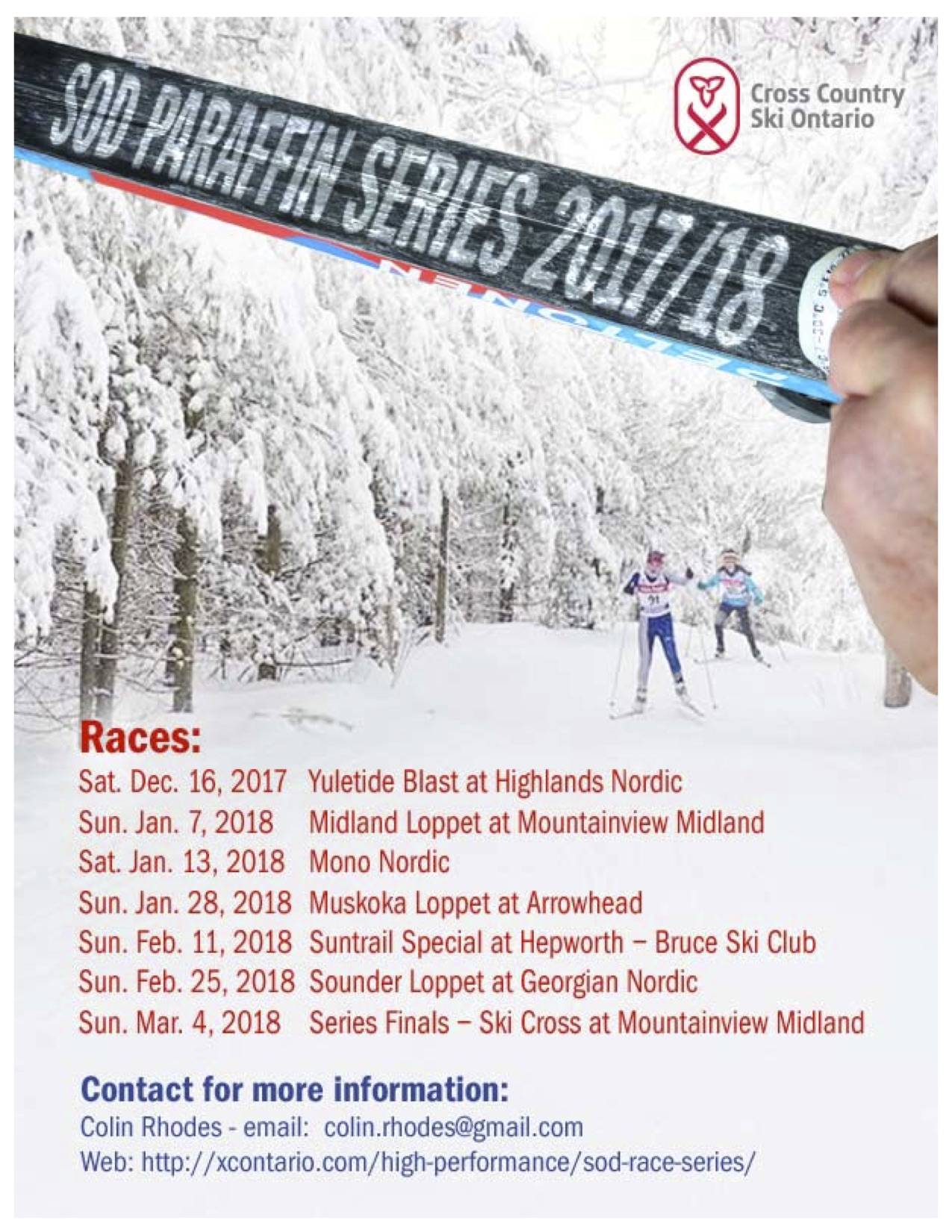 SOD Paraffin Series Ski Race Poster 2017-18