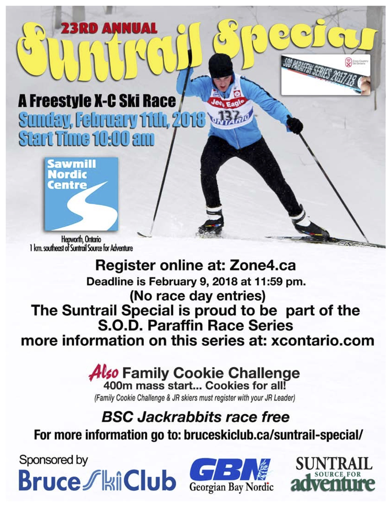 2018 Suntrail Special cross-country ski race poster