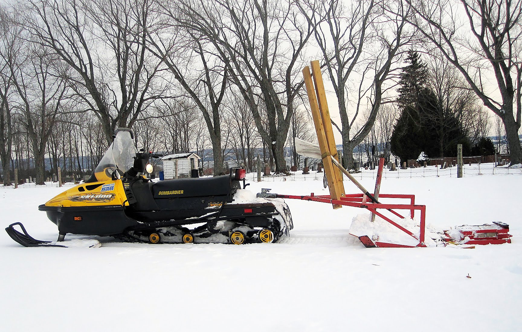 Snowmobile groomer at Colpoy's Bay Ski Trail