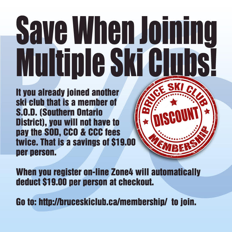 Bruce Ski Club Flyer - Discount with multiple ski memberships