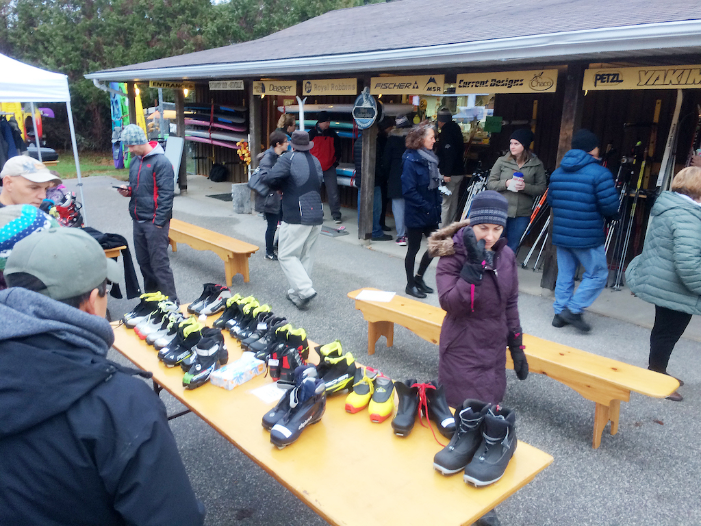 Bruce Ski Club cross-country ski swap event at Suntrail Outfitters in Hepworth, Ontario