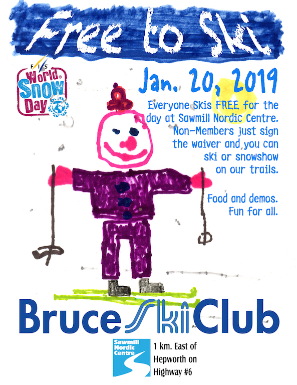 Flyer for Bruce Ski Club World Snow Day 2019 event