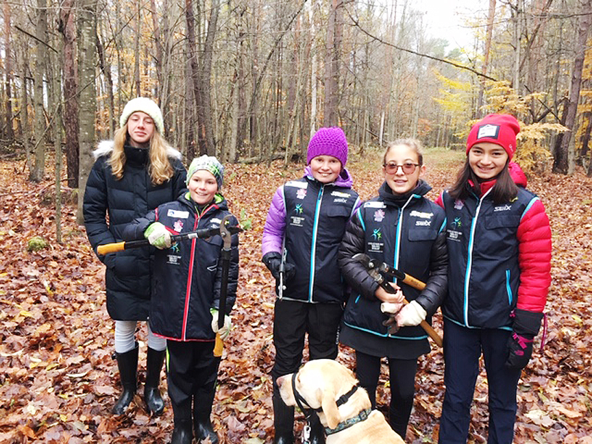 Volunteers at cross-country ski trail cleanup - Sawmill Nordic Centre, Hepworth, Ontario