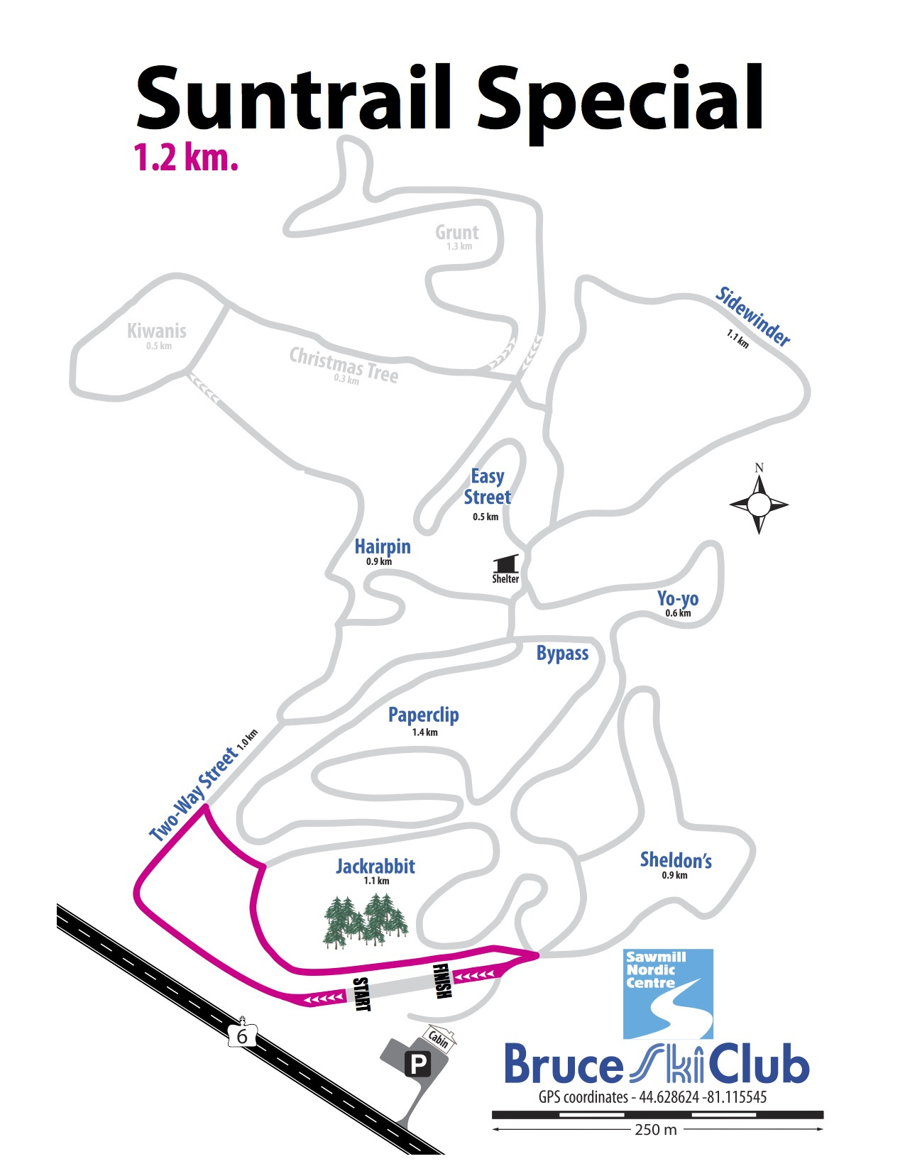 2019 Suntrail Special Cross-Country Ski Race Map – 1.2 km