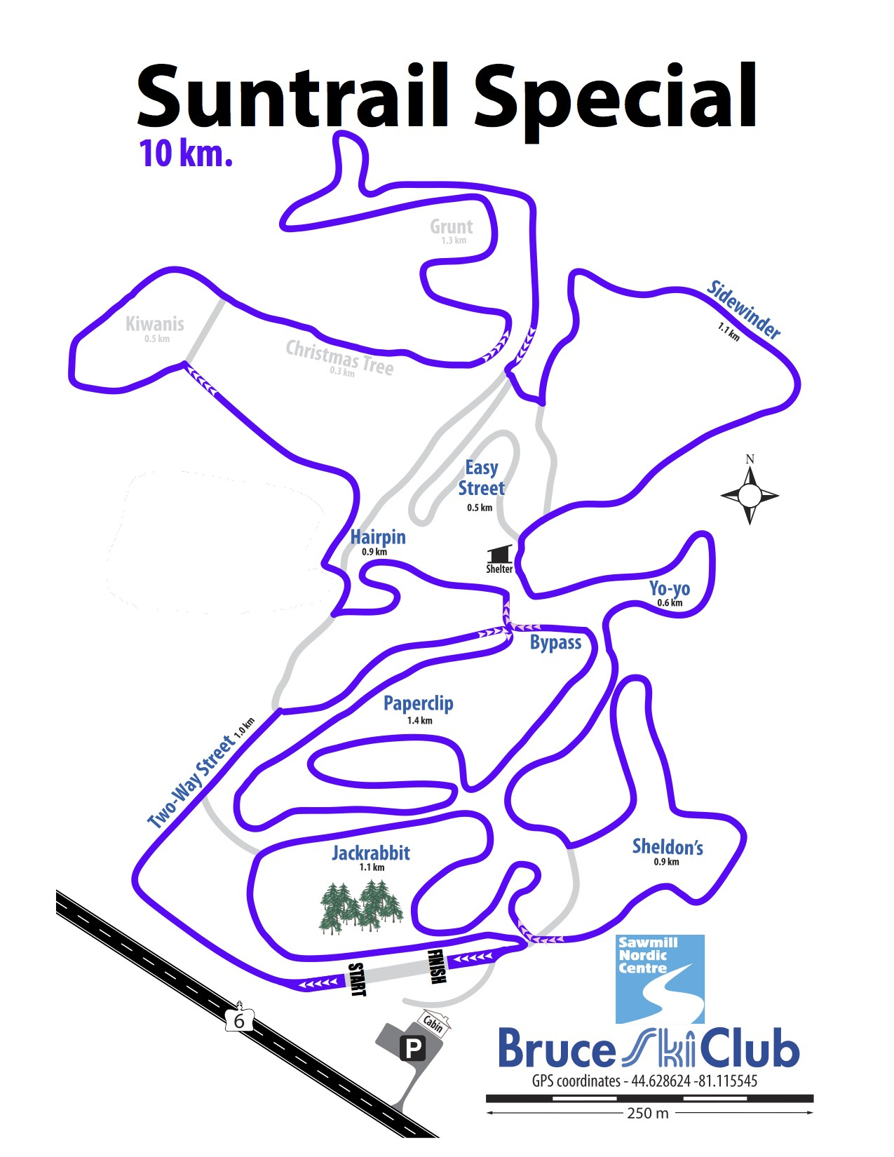2019 Suntrail Special Cross-Country Ski Race Map – 10 km