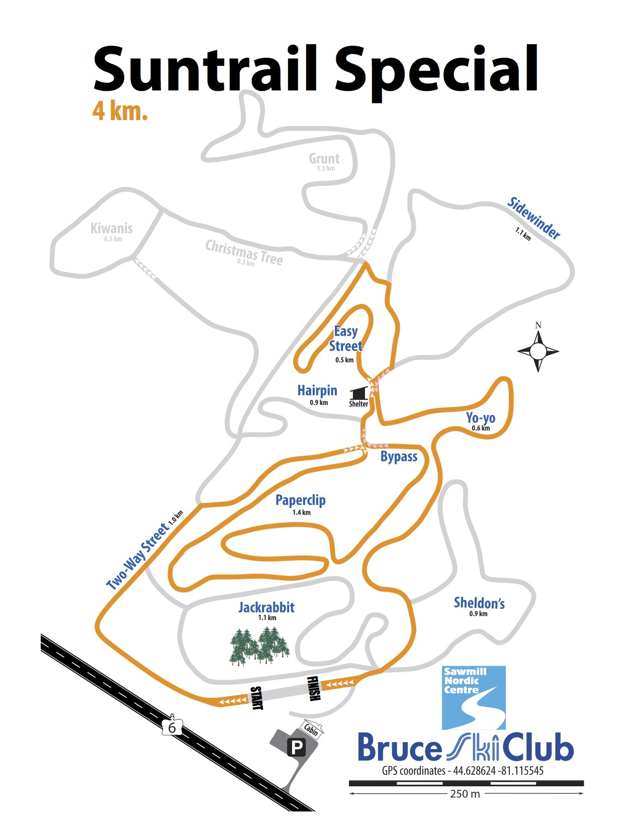 2019 Suntrail Special Cross-Country Ski Race Map – 4 km
