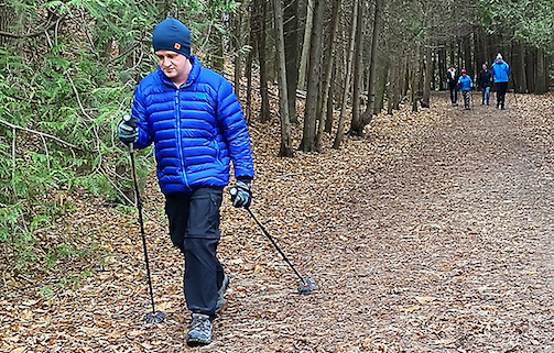 Hiker on trail in Owen Sound