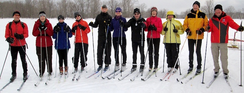 Colpoys Ski Trail, Bruce Peninsula, Ontario - Line of Cross-Country Skiers