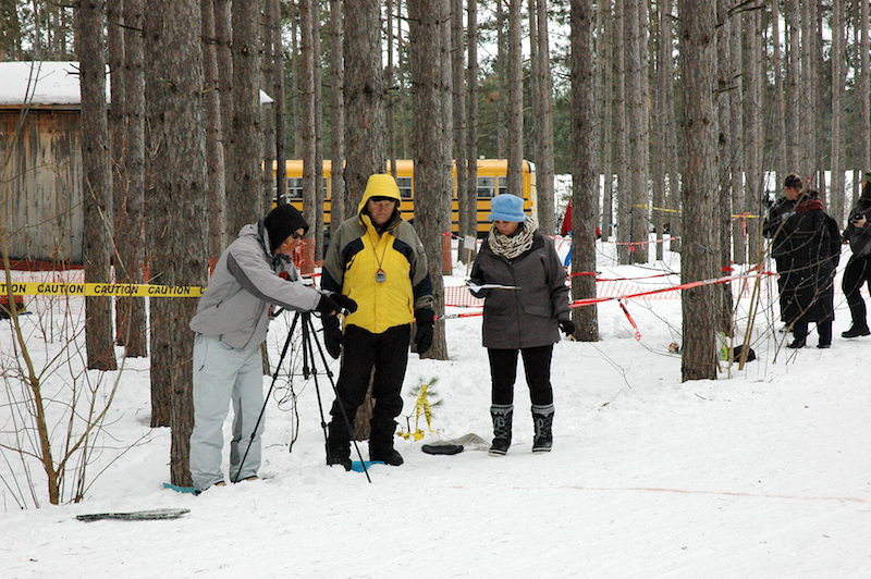 Great Wolf Invitational Cross-Country Ski Race 2017 - finish line officials
