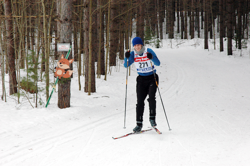 Great Wolf Invitational Cross-Country Ski Race 2017 - smiling skier