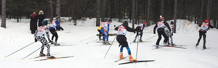 Cross-country ski racers, 2017 Great Wolf Invitational, Hepworth, Ontario