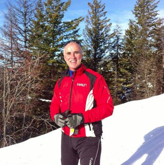 Mike Campbell, Bruce Ski Club President, on the trails