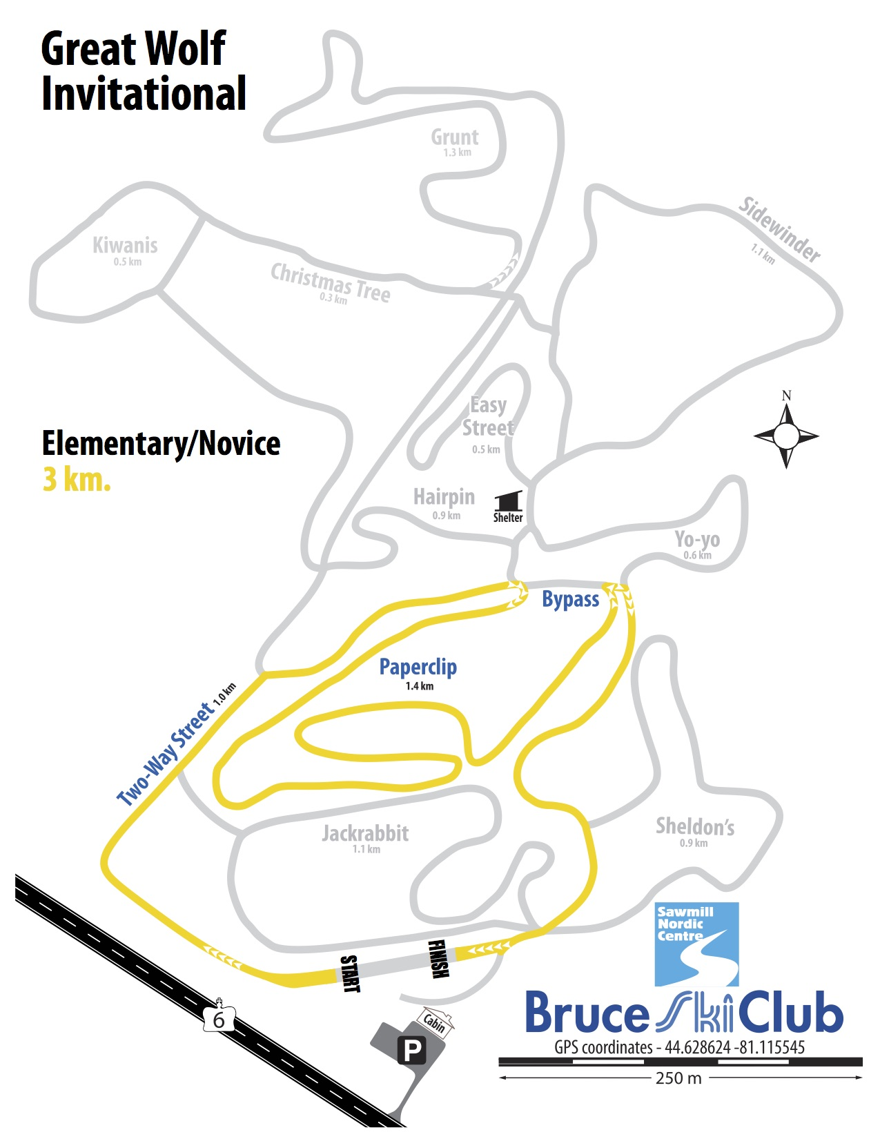 Great Wolf Invitational Cross-Country Ski Race, Hepworth, Ontario - Map: Elementary Novice