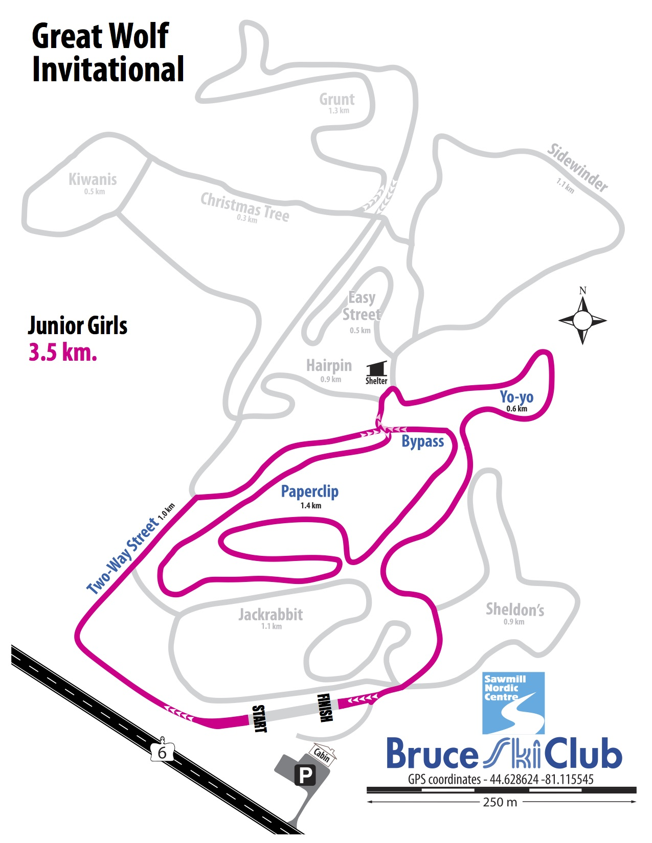 Great Wolf Invitational Cross-Country Ski Race, Hepworth, Ontario - Map: Junior Girls
