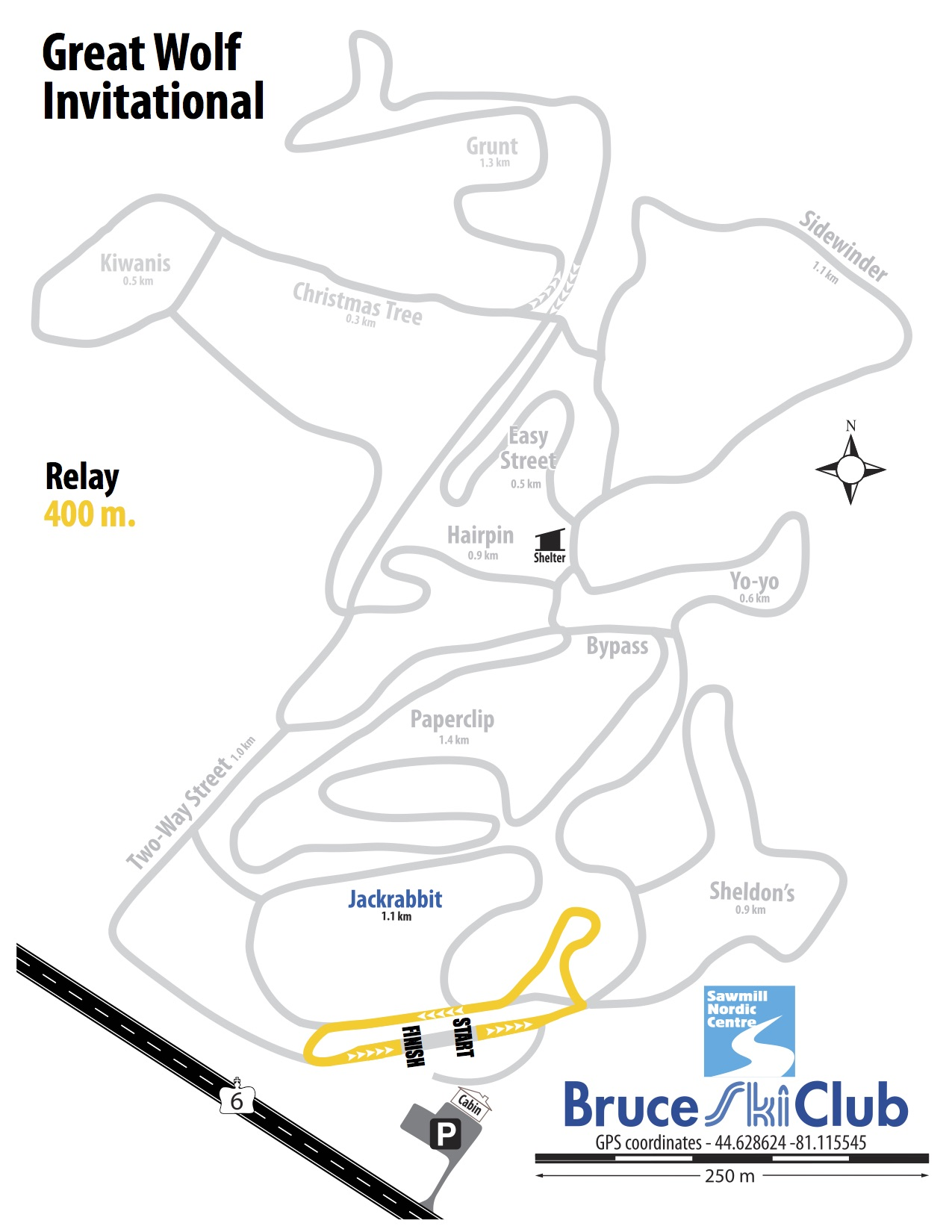 Great Wolf Invitational Cross-Country Ski Race, Hepworth, Ontario - Map: Relay