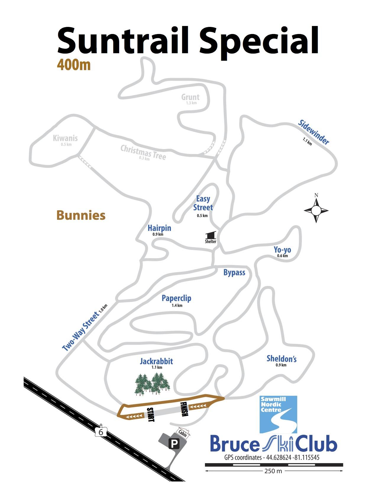 2019 Suntrail Special Cross-Country Ski Race Map – 400m
