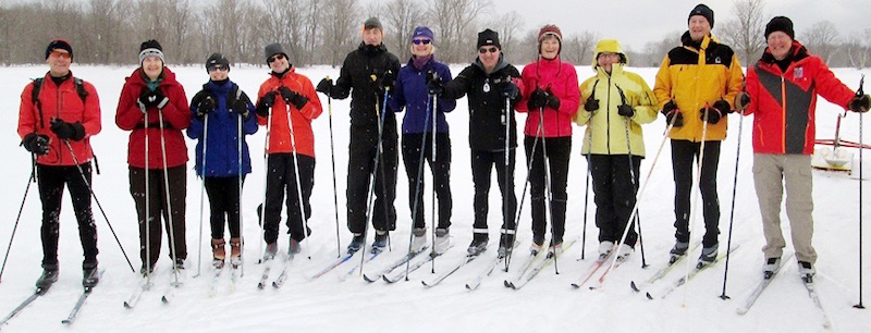 Cross-country skiers at Colpoys Trail in Wiarton, Ontario