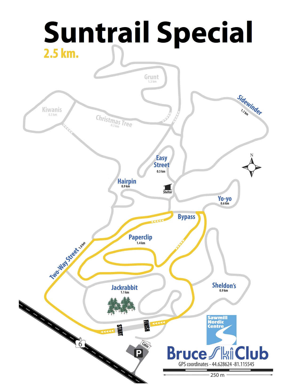 2019 Suntrail Special Cross-Country Ski Race Map – 2.5 km
