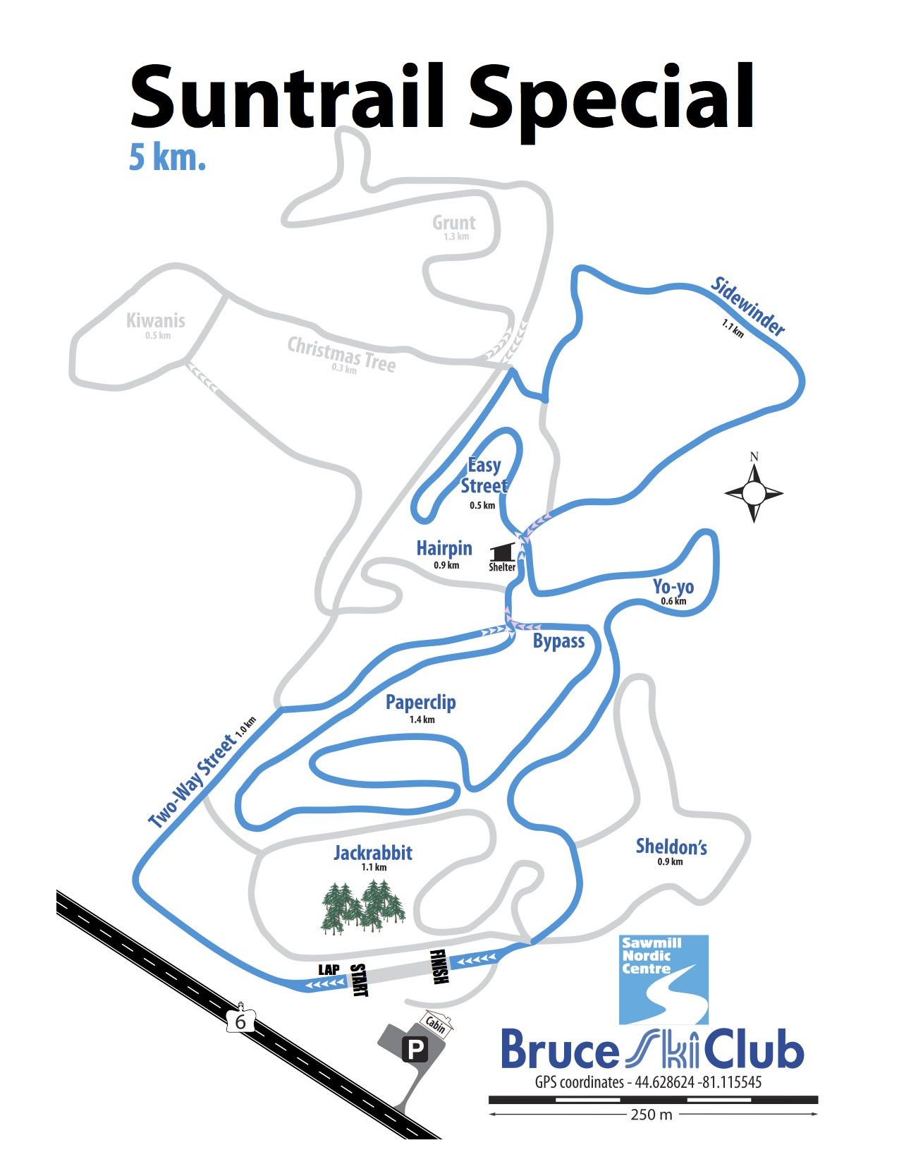 2019 Suntrail Special Cross-Country Ski Race Map – 5 km