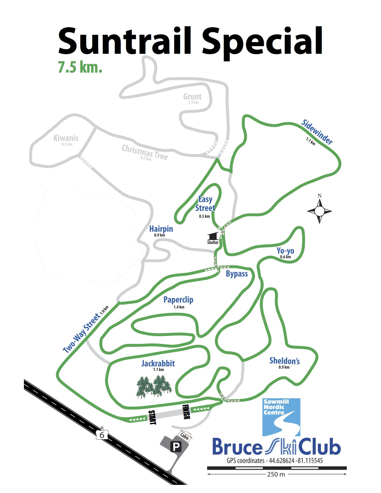 2019 Suntrail Special Cross-Country Ski Race Map – 7.5 km